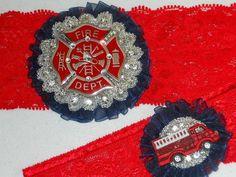 firefighter garters for wedding | Fireman wedding garter. Firefighter enamled by ... | Wedding Ideas