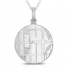 Engraved map pendant from A. Jaffee. Let a diamond mark the spot and the moment that changed everything. A special keepsake of an engagement or any special occasion really.