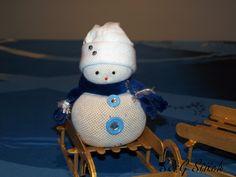 Schneemann Blau, aus Socken :-), gefüllt mit 350 gramm Reis !