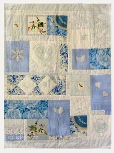 vintage linen made into patchwork baby quilt Embroidery Transfers, Embroidery Patterns, Quilt Patterns, Embroidery Thread, Quilting Ideas, Crewel Embroidery, Coat Patterns, Blouse Patterns, Stitch Patterns