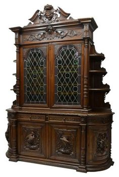 French Renaissance Revival oak hunt cupboard, 19th c. #AntiqueFrenchFurniture #RenaissanceRevival