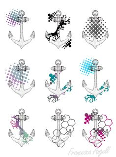 Selection of Trash Polka Anchor Designs by Francesca Angell. Colour. Splash. Bright. Pirate. Graphic. Honeycomb. Art. Design.