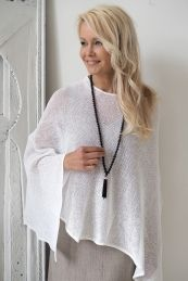 Knitted Linen Poncho, WHITE