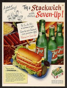 1954 Vintage Seven Up Ad ~ Stackwich, Vintage Beverage Ads (Other) Pin Up Vintage, Vintage Soft, Vintage Ads, Vintage Images, Vintage Posters, Old Advertisements, Retro Advertising, Retro Ads, Retro Food