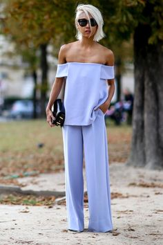 Ditch a pantsuit for pastel off-the-shoulder separates as seen on Riches for Rags.