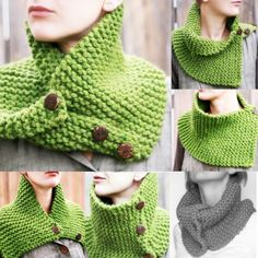 """Love the versatility of a cowl with buttons.  22x8"""" - looks like this could be done in 1 night!! love it."""