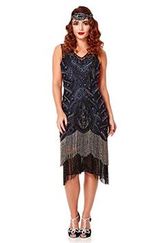 Gatsbylady Hollywood 1920s Vintage Inspired Fringe Dress in Black Navy 20 * To view further for this item, visit the image link.(This is an Amazon affiliate link and I receive a commission for the sales)