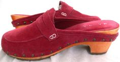 "Madison Studio ""Dutchess"" Red Leather Suede Clogs Shoes Size 8M #MadisonStudio #Clogs #Casual"