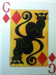 Le Chat Noir em: o gato de ouros Acrílica sobre tela  By Marcia Martão