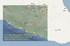 """NASA registró incendio en Chilapa el 27 de septiembre: científico. """"Archivos satélite detector de incendios Terra NASA aportan nuevos datos sobre incendio en la noche de masacre, algo ardió toda la noche en Chilapa"""", indicó Eligium. De acuerdo al divulgador científico, archivos sátelite de la NASA revelan algo quemándosa en Chilapa la madrugada del 27 de septiembre y no en Cocula."""