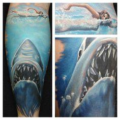 Jaws tattoo, shark, swimmer