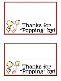 Thanks for Popping By! Popcorn Label for Open House or Back to School