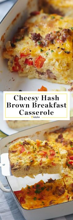 Make Ahead Cheesy Hash Brown Breakfast Casserole Recipe.  Perfect for holidays like Thanksgiving, Christmas or Easter. Families love this DELICIOUS EASY breakfast or brunch bake. Great for a crowd of in-laws and overnight guests. It may just be the very BEST brunch of all brunch recipes EVER! You'll need breakfast sausage, onion, red bell pepper, frozen shredded potatoes, eggs, sour cream, cheddar cheese.