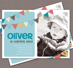 Boy  Bunting Birthday Invitation by Lemonade Design Studio