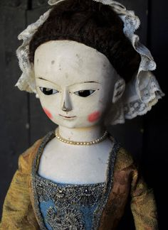 """Queen Anne and Izannah Walker Reproduction Dolls: """"Genevieve""""  Reproduction of a Wooden Doll from th..."""