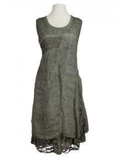 Damen Leinenkleid mit Spitze, oliv von Spaziodonna bei www.meinkleidchen.de
