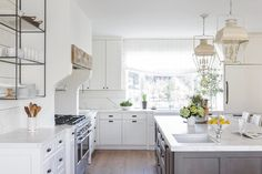 Pretty white kitchen with a few rustic details