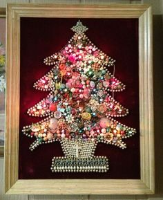 Vintage Framed Costume Jewelry Christmas Tree Rhinestone Bead Collage Art Lights #MixedLot