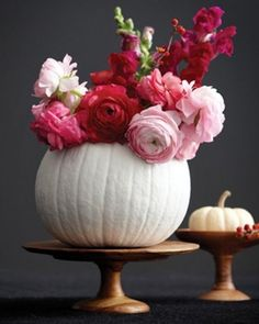 pumpkin elegant white floral arrangement centerpiece autumn fall by brittany estes