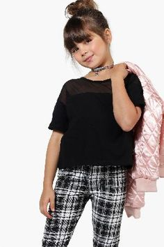 #boohoo Mesh Panel Tee - black KZZ98402 #Girls Mesh Panel Tee - black
