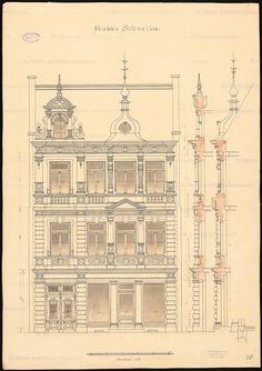 Fassade: Ansicht 1:25, 2 Schnitte vertikal, Aufbewahrung/Standort: