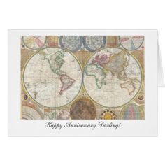 Old World Map from 1794 - Happy Anniversary Card #zazzle HightonRidley