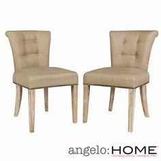 Lexi Sandstone Khaki Brown Twill Dining Chair -These are a wheat/khaki color. They are a lovely shape with a lower profile than the other options.  (Set of 2 $293)