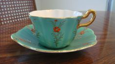 Royal Stuart Spencer Stevenson Tea Cup Set, Bone China, England, Green