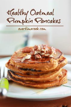 Healthy Oatmeal Pumpkin Pancakes. My review: Made these into waffles instead. They turned out great. The oats made them chewy and dense in a good way!