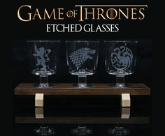 Game of Thrones Etched Glasses With Custom Wooden Stand: 6 Steps (with Pictures) Game Of Thrones Fans, Mason Jar Wine Glass, Glass Etching, Diy Tutorial, Diy Projects, Project Ideas, Glasses, Tableware, Inspiration