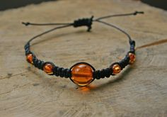 Bracelet Amber adjustable summer/spring gemstone braided by TriouZ, £7.89