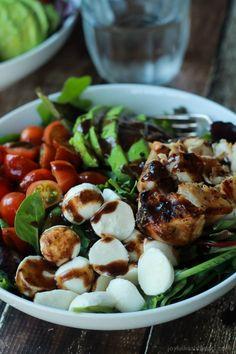 Avocado Caprese Chicken Salad topped with a light Balsamic Vinaigrette