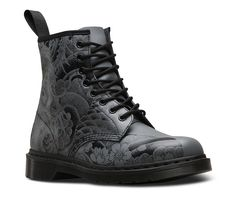 Buy the Dr Martens 1460 OT Tattoo Unisex Leather Boots in Gunmetal Black at Scorpio Shoes!