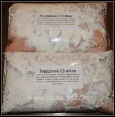 Six Cents: Crockpot Freezer Cooking 4--- Poppyseed Chicken, Shredded Pork Tacos,Ground Beef Stroganoff, Chicken Delicious