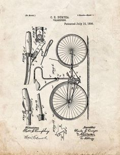 Velocipede Patent Print Art Poster Old Look (13' x 19')