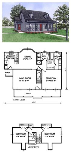 Cape Cod House Plan 45492 | Total Living Area: 1424 sq. ft., 3 bedrooms & 2.5 bathrooms. #houseplan #capecod