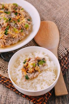 Steamed Pork Cake with Salted Fish (咸鱼蒸肉饼) - The Woks of Life Steam Recipes, Pork Recipes, Cooking Recipes, Yummy Recipes, Easy Asian Recipes, Ethnic Recipes, Chinese Recipes, Wok Of Life, Asian Pork