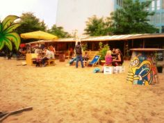 Yaam beach bar Berlin near East Side Gallery Berlin Wall