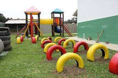 Kiddo play area idea for old tires … Kids Outdoor Play, Outdoor Play Areas, Kids Play Area, Backyard For Kids, Outdoor Fun, Diy Playground, Preschool Playground, Tyres Recycle, Outdoor Classroom