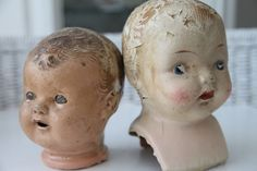 Two Tattered Fabulous Antique Doll Heads