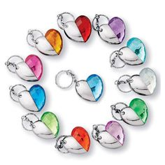 """Birthstone-color keychain/flashlight with on/off switch uses 2 button-cell batteries (included). Each, 1 3/4"""" L x 1 1/2"""" W. Plastic. Imported."""