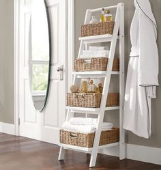 This bathroom storage ladder combines function with style. Reduce the clutter in your master bath with this four tier storage ladder. Shelves increase in size from top to bottom Color: White. Bathroom Storage Ladder, Bathroom Organisation, Diy Organization, Bath Storage, Ladder Storage, Towel Storage, Diy Storage, Storage Ideas, Clever Bathroom Storage