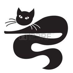 Schwarze Katze liegend auf wei�em Hintergrund photo