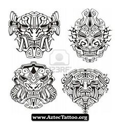 Black And White Aztec Tattoos 02 - http://aztectattoo.org/black-and-white-aztec-tattoos-02/