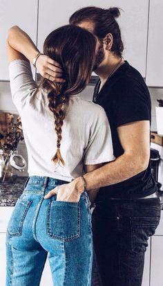 couple goals high waist denim + white top