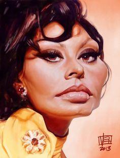 Caricatura de Sophia Loren.