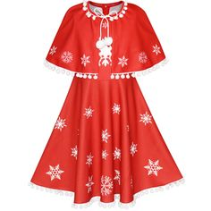 c1602bda86f2f Flower Girl Dress Red Cape Cloak Christmas New Year Holiday Party Age 4-14  Years