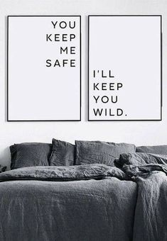 Minimal wall art print | You keep me safe, I'll keep you wild | minimalist home decor | black and white bedroom | couples bedroom poster | typography quote art | matching art for above the bed | #affiliate #minimalism