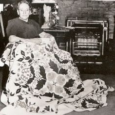 Charlotte Whitehill and her Garden Quilt,  photo from the late 1940s.