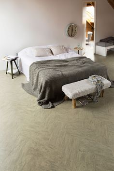 Bedroom with marmoleum marble floor and a cozy bed with pillow and coverlet Matching Bedding And Curtains, Bedding Sets, Closet Bedroom, Home Bedroom, Dinosaur Toddler Bedding, Bedroom Flooring, Bed Sets, Cozy Bed, Interior Exterior